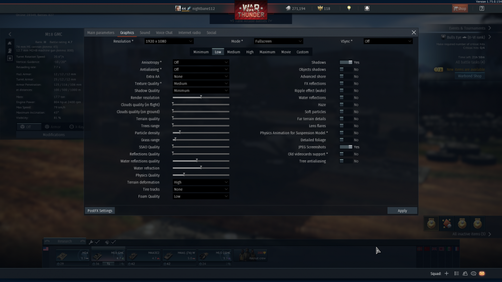 War Thunder Graphical settings (Low)