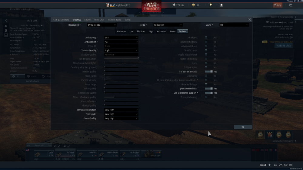 War Thunder Graphical Settings (With Old video card support) (Maxed out)